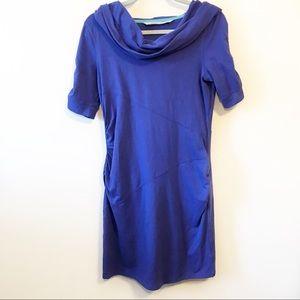 Athleta Perwinkle Blue Cowl Neck Hooded Dress Sz S